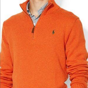 Polo Zip Orange Sweater Merino Wool